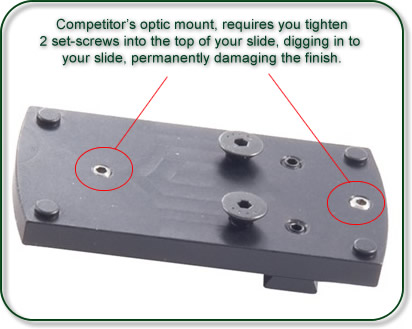 Competitor's Mounts, require set screws, which will damage your XDM Slide